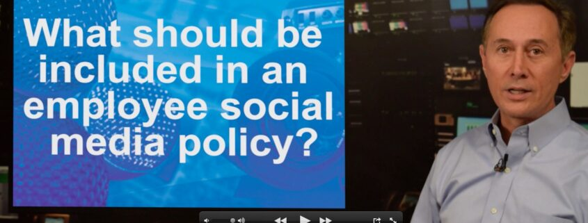 What should be included in a company social media policy?